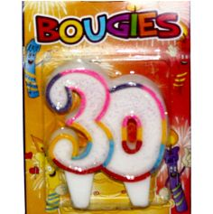 bougie anniversaire 30 ans multicolore