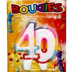 bougie anniversaire 40 ans multicolore