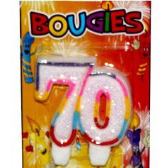 bougie anniversaire 70 ans multicolore