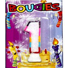 Bougie d'Anniversaire chiffre 1 Multicolore