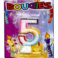 Bougie d'Anniversaire chiffre 5 Multicolore
