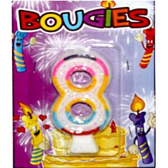 Bougie d'Anniversaire chiffre 8 Multicolore