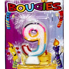 Bougie d'Anniversaire chiffre 9 Multicolore