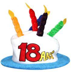 Chapeau Joyeux anniversaire 18 ans blanc