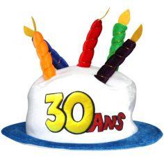 Chapeau Joyeux anniversaire 30 ans blanc