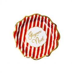 assiettes-joyeux-noel-rayures-rouge-doré-carton-traditionnel |jourdefete.com