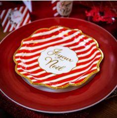 8 Assiettes Joyeux Noël Rouge Blanc et Or - 23 cm