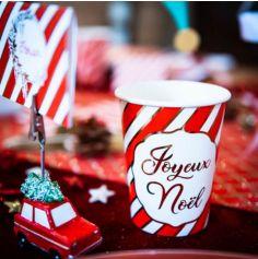 8 Gobelets Joyeux Noël Rouge Blanc et Or