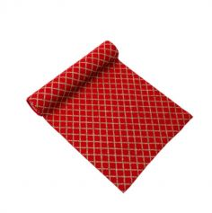 chemin-de-table-rouge-lin-losanges-or-paillettes|jourdefete.com