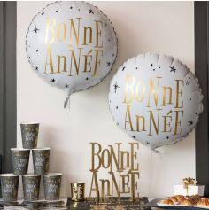 Ballon en Aluminium - Bonne Année - Rond Blanc - 35 x 18 cm
