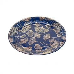 assiettes-feuilles-ginkgo-bleu-marine-or | jourdefete.com