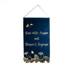 suspension-lin-bleu-marine-or-reveillon-saint-sylvestre-feuilles-ginkgo - | JOURDEFETE.COM