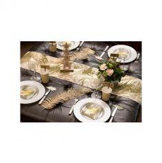 Feuille de Noël - Décoration de Table - Métal Or - 12,5 x 48 cm