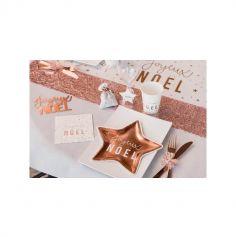 """10 Petites Assiettes en forme d'Etoile """" Joyeux Noël """" Métal Rose Gold - 22 x 22 cm"""