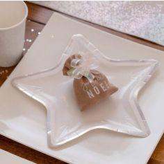 Sachet de 10 Assiettes Ultra Plates en forme d'Etoile avec Bord Irisé - 22 x 22 cm