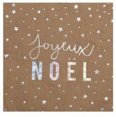 """Sachet de 20 Serviettes en papier """" Joyeux Noël """" - Métal Taupe - 3 Plis - 12,5 x 12,5 cm"""