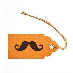 8 Etiquettes Kraft Moustache