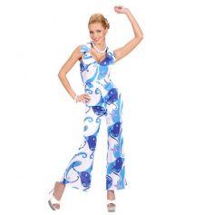 Déguisement Femme Disco Combinaison Blanche et Bleue - Taille au Choix