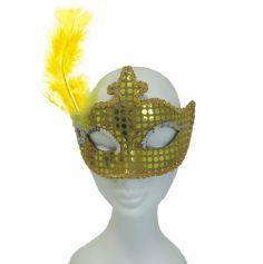 Masque de Carnaval à Plume Jaune