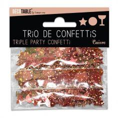 Trio de confettis - etoile rond coupe cocktail - cuivre | jourdefete.com