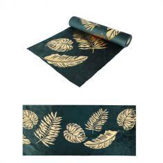 chemin-table-velours-vert-feuilles-dorees-decoration | jourdefete.com