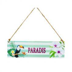Plaque en Bois Tropicale - Paradis | jourdefete.com