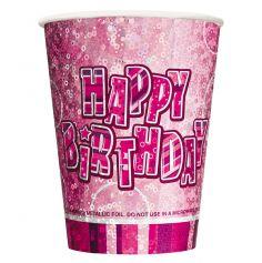 gobelet en carton anniversaire glitz rose