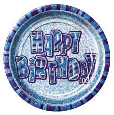 assiettes en carton anniversaire glitz bleue