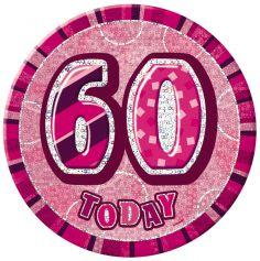 badge anniversaire glitz rose 60 ans