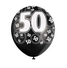 "Ballons Anniversaire ""Glitz"" Noirs - 50 ans"