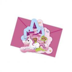 Lot de 6 Cartes d'Invitation + Enveloppes - Licorne