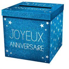 """Urne pailletée """"Joyeux Anniversaire""""  - Bleu"""