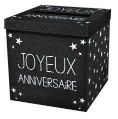 """Urne pailletée """"Joyeux Anniversaire"""" - Noir"""