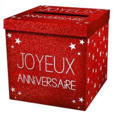 """Urne pailletée """"Joyeux Anniversaire"""" - Rouge"""
