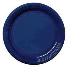 50 Assiettes à Dessert Rondes en Plastique - Bleu Marine