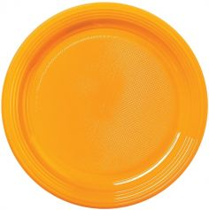 30 Assiettes Rondes en Plastique - Orange