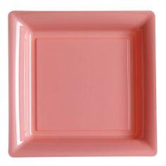 12 Assiettes Carrées en Plastique - Rose Pâle
