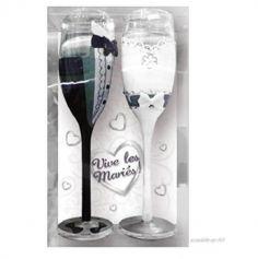 Pack de 2 flutes - Vive les Maries - costume et robe | jourdefete.com