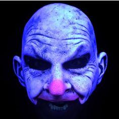Demi-Masque Intégral en Latex - Clown Chauve - Sensible à la Lumière Noire
