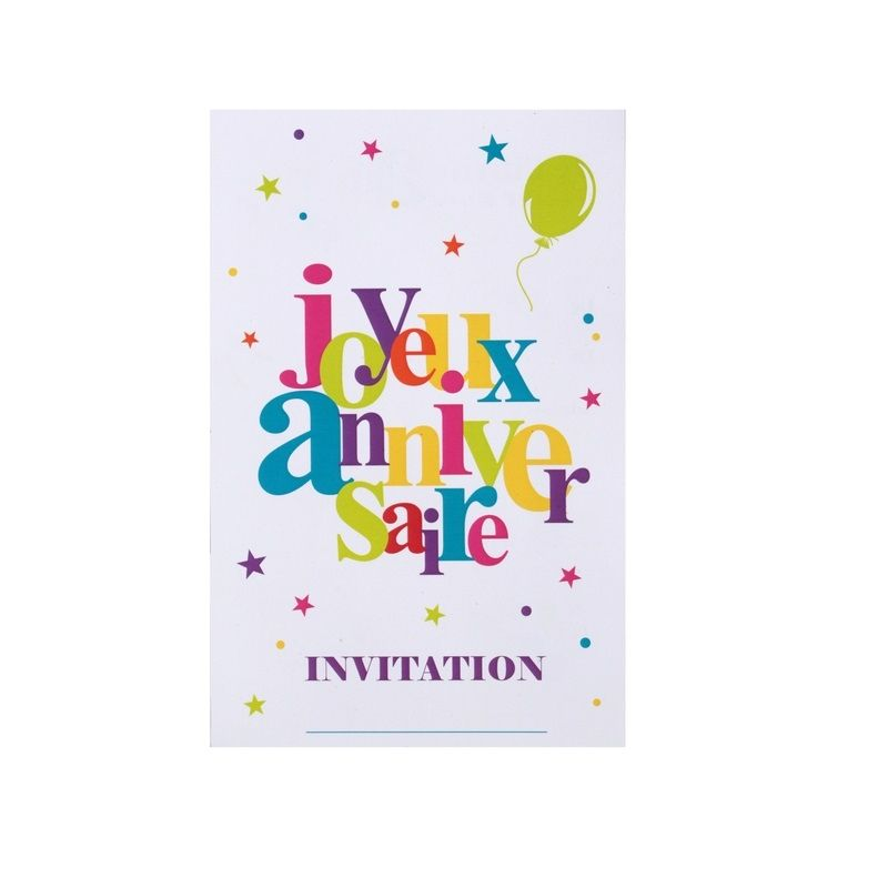 6 Cartes D Invitation Joyeux Anniversaire Multicolore Jour De Fete Boutique Jour De Fete