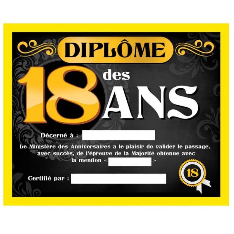 Cadre Avec Diplome Homme 18 Ans Jour De Fete 18 Anniversaire Par Age