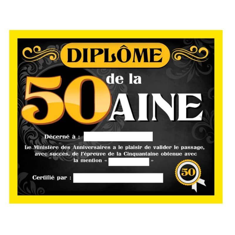 Cadre Avec Diplome Homme 50 Ans Jour De Fete 50 Anniversaire Par Age