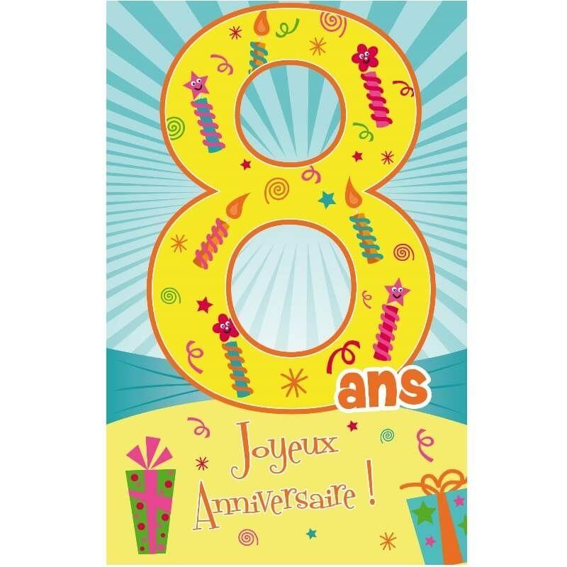 Carte D Anniversaire Decoup Age Avec Enveloppe 8 Ans Jour De Fete Boutique Jour De Fete