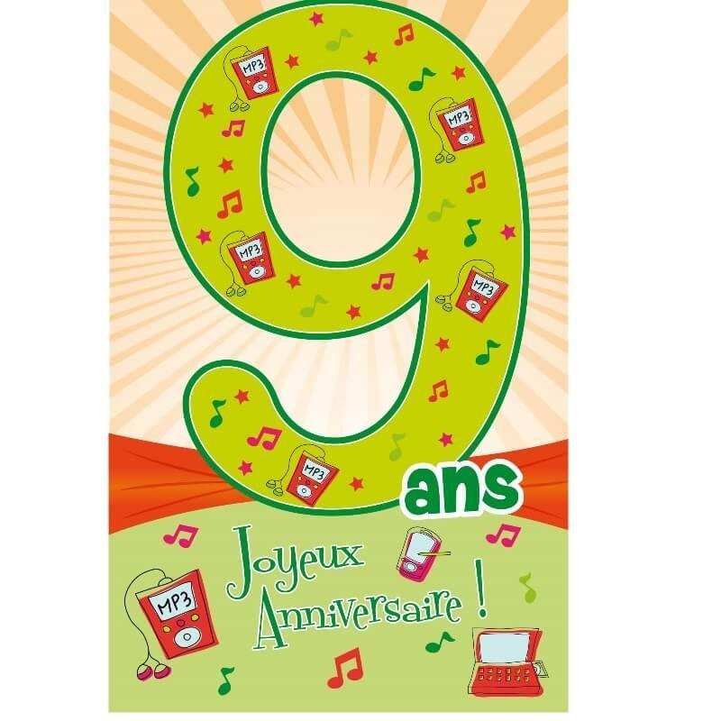 Carte D Anniversaire Decoup Age Avec Enveloppe 9 Ans Jour De Fete Boutique Jour De Fete