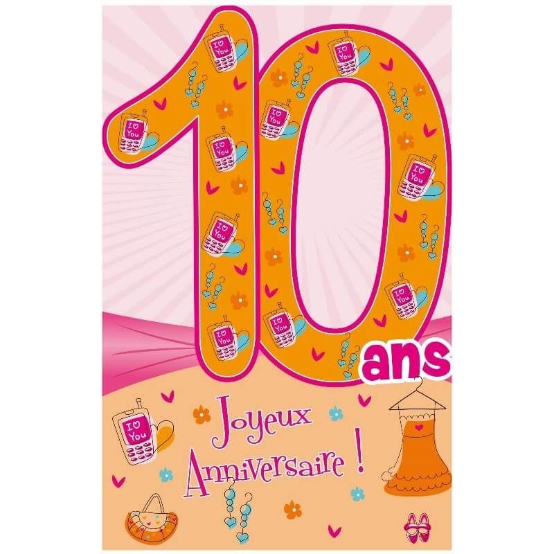 Carte D Anniversaire Decoup Age Avec Enveloppe Fille 10 Ans Jour De Fete Boutique Jour De Fete