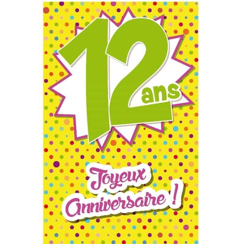 Carte D Anniversaire Decoup Age Avec Enveloppe 12 Ans Jour De Fete Boutique Jour De Fete
