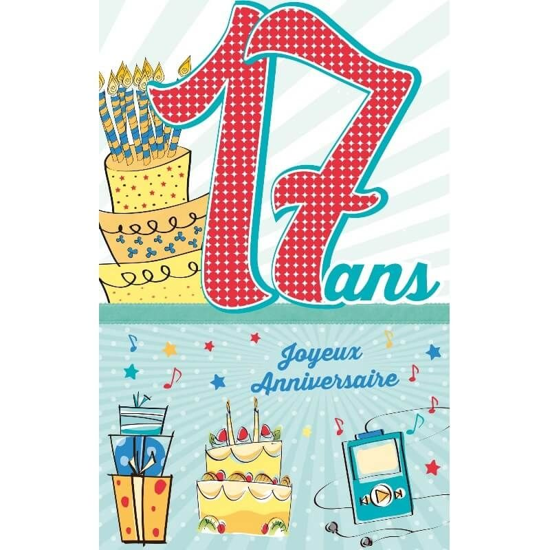 Carte D Anniversaire Decoup Age Avec Enveloppe 17 Ans Jour De Fete Boutique Jour De Fete