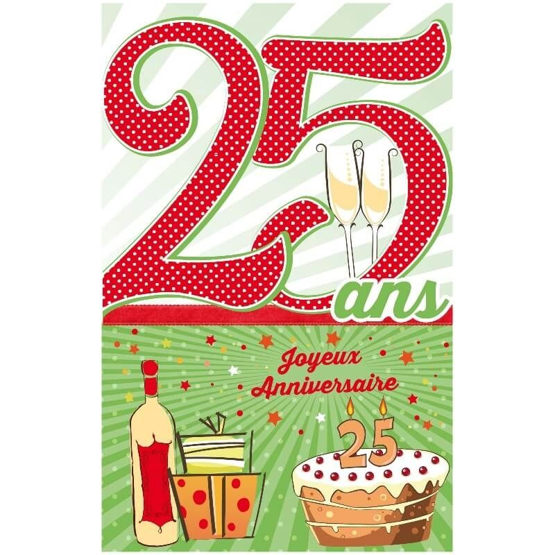 Carte D Anniversaire Decoup Age Avec Enveloppe 25 Ans Jour De Fete Boutique Jour De Fete