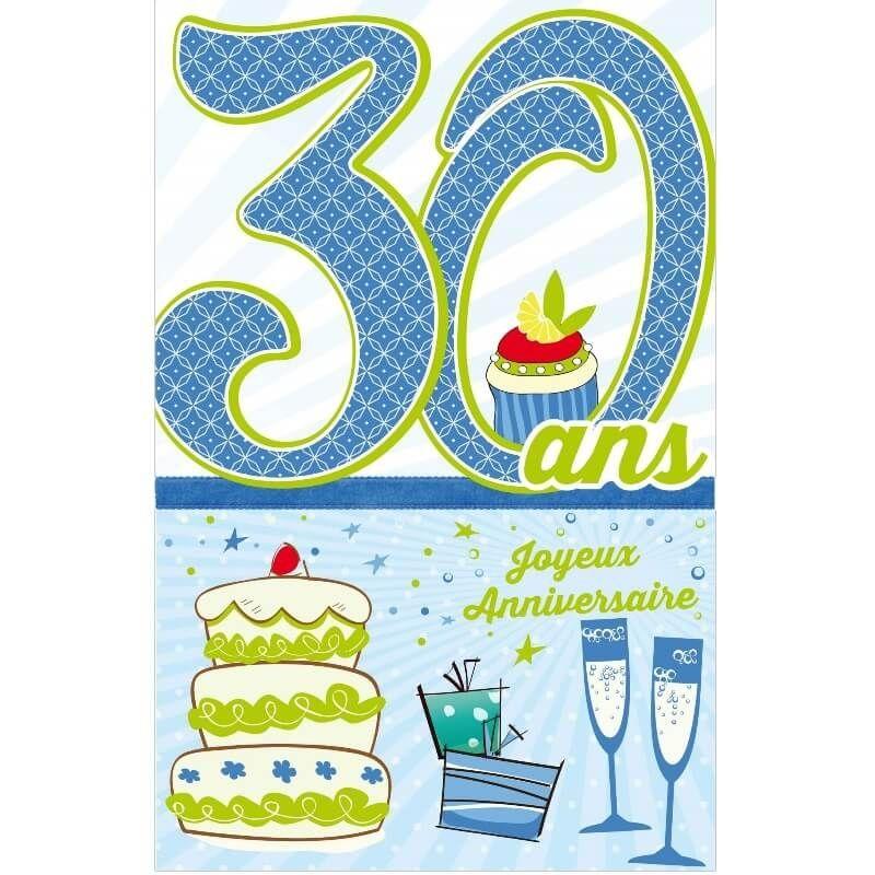 Carte D Anniversaire Decoup Age Homme Avec Enveloppe 30 Ans Jour De Fete Boutique Jour De Fete