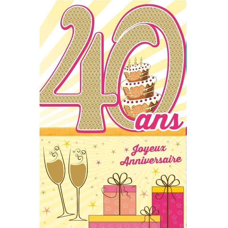 Carte D Anniversaire Decoup Age Femme Avec Enveloppe 40 Ans Jour De Fete Boutique Jour De Fete